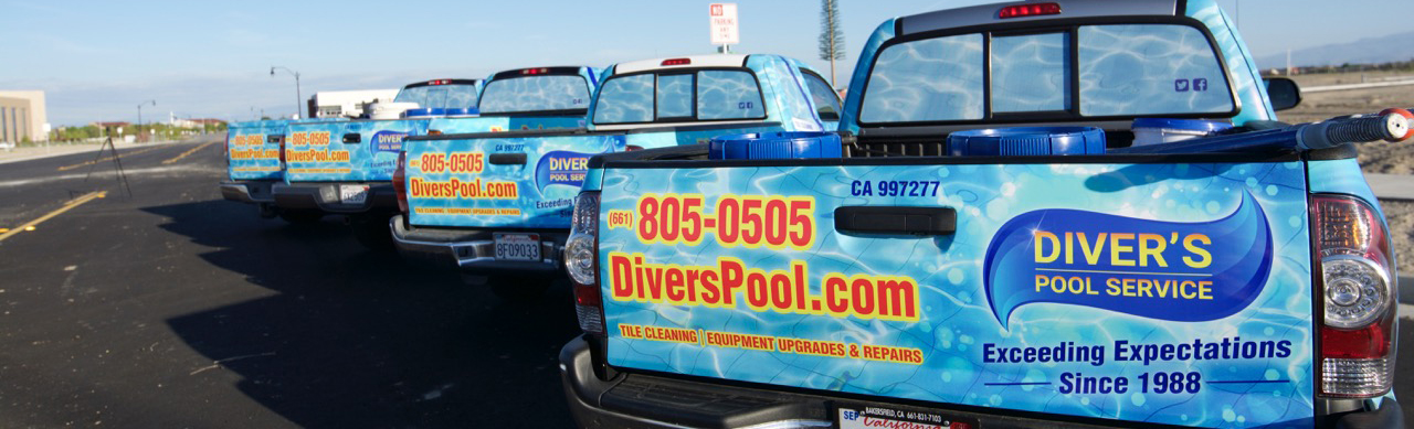 Diver's Pool Service and Repairs Fleet of Trucks